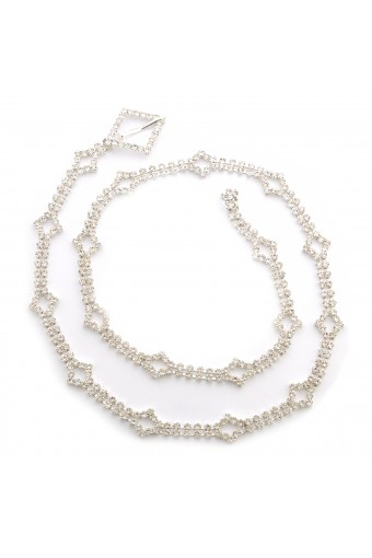 Silver Crystal Waist Belt Jewelry Gift For Women