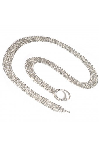 Silver Crystal Rhinestone Five Line Belt with a Circle Buckle