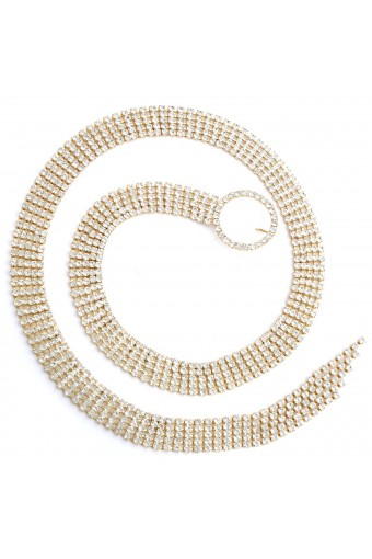 Gold Crystal Rhinestone Five Line Belt with a Circle Buckle