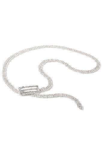 Wedding Jewelry Silver Crystal Rhinestone Double Line with Silver Beads Belt