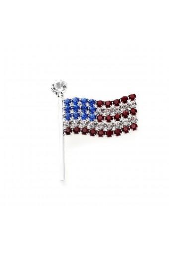 Silver Wavy American Flag Pin