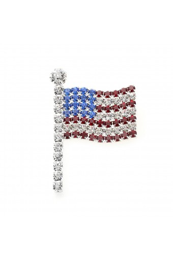 Silver Small Wavy American Flag Pin