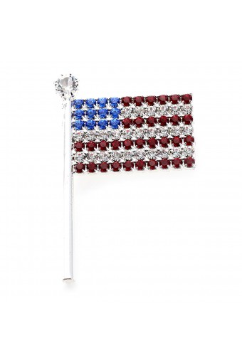 Silver Multi Color Rhinestone American Flag Pin