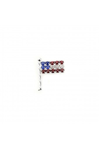 Silver Wide American Flag Pin
