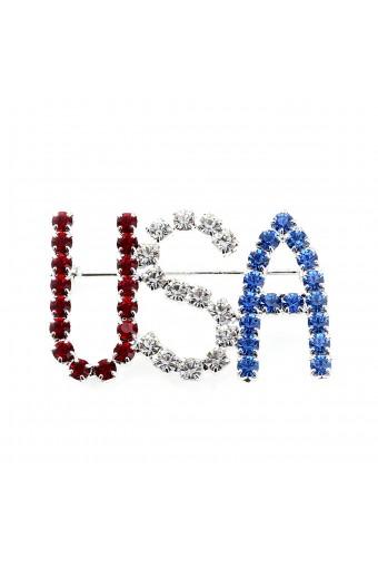 Silver Crystal Rhinestone Patriotic USA Pin