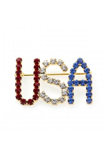 Gold Crystal Rhinestone Patriotic USA Pin