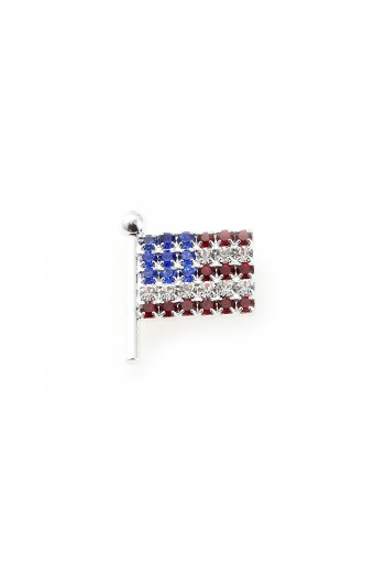 Silver American Flag Pin