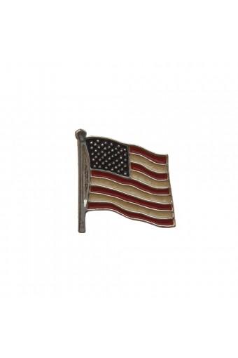 Silver Enamel American Flag Pin
