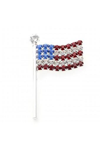 Silver Crystal Rhinestone Wavy American USA Patriotic Flag Pin