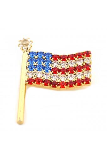 USA Flag Pin Gold Small Wavy American Flag Pin