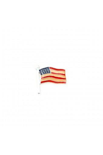 Silver Small Enamel American USA Patriotic Flag Pin