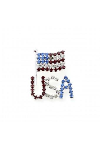 Silver Crystal Rhinestone Patriotic American Flag & USA Pin