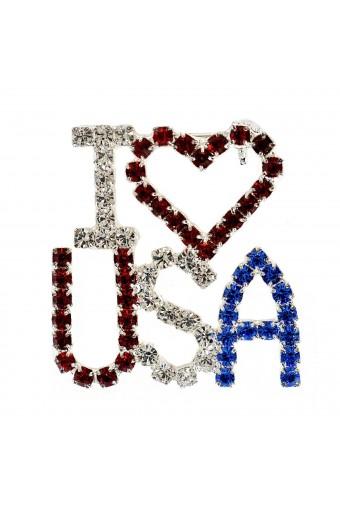 Silver Crystal Rhinestone Patriotic I Love USA Pin