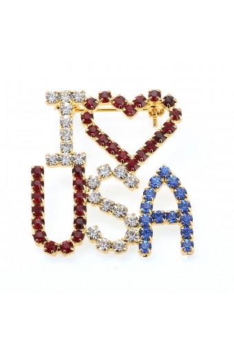 Gold Crystal Rhinestone Patriotic I Heart USA Pin