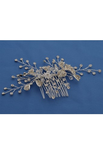 Wedding Cluster Flower Silver Crystal Hair Comb