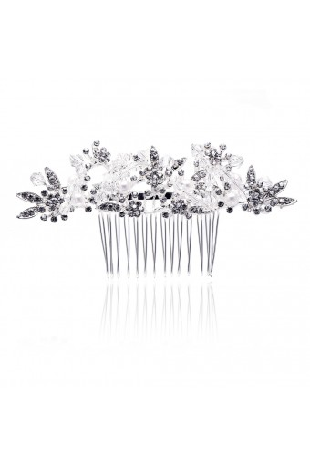 Bridal Fashion Silver Crystal Side Accented Hair Comb