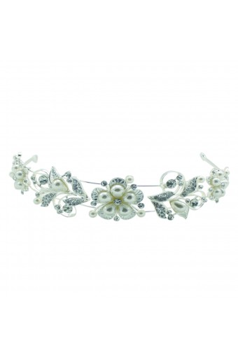 Fashion Jewelry Faux Pearl Flower Accented Tiara