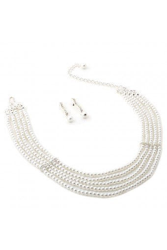Silver White Pearl 5 Line Choker and Dangle White Pearl Earrings Jewelry Set