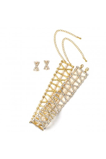 Gold Crystal Rhinestone in X Formation with Cream Pearl Choker and Matching Earrings Jewelry Set