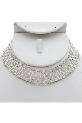 Silver Crystal Rhinestone and Silver Bead Fishnet Choker and Matching Earrings Jewelry Set